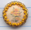 California Poppy with beaded border, size small