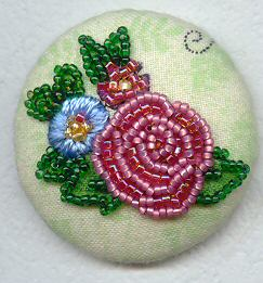 Beaded rose from Mary Englebreit fabric