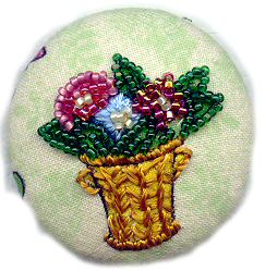 Beaded button from Mary Englebreit fabric
