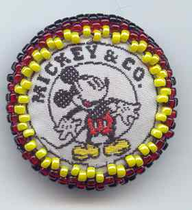 hand beaded machine embroidered Mickey Mouse